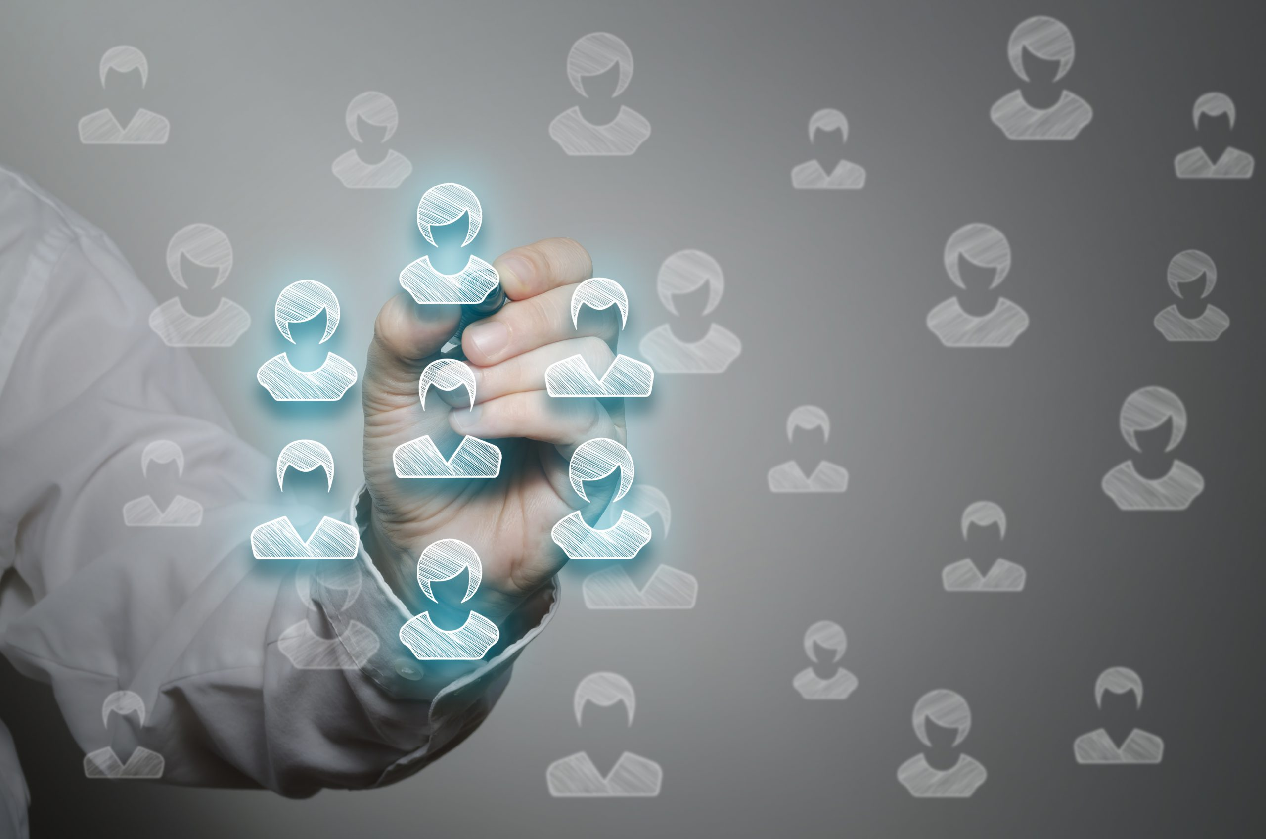 Customers care, customer relationship management (CRM) and team building concepts. Marketing segmentation concept.